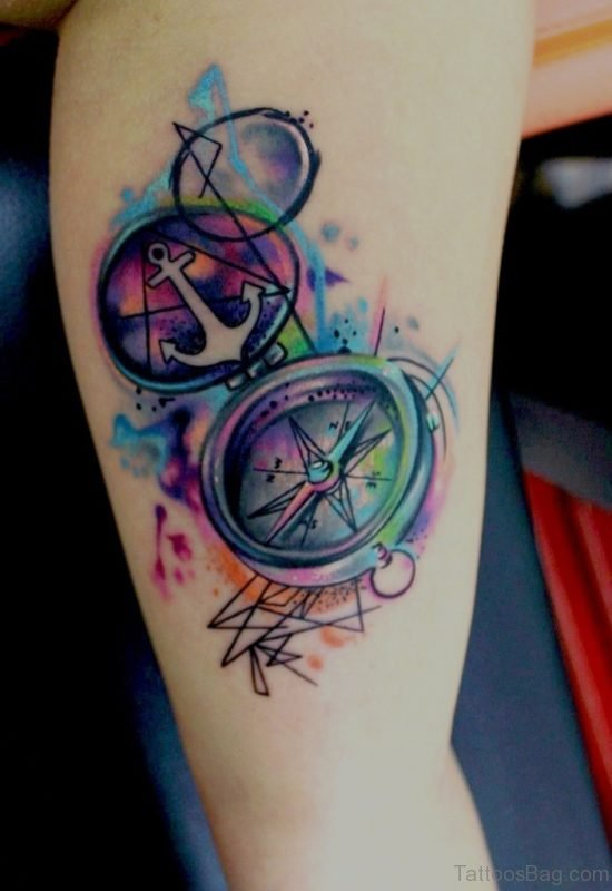 Watercolor Anchor Compass Tattoo