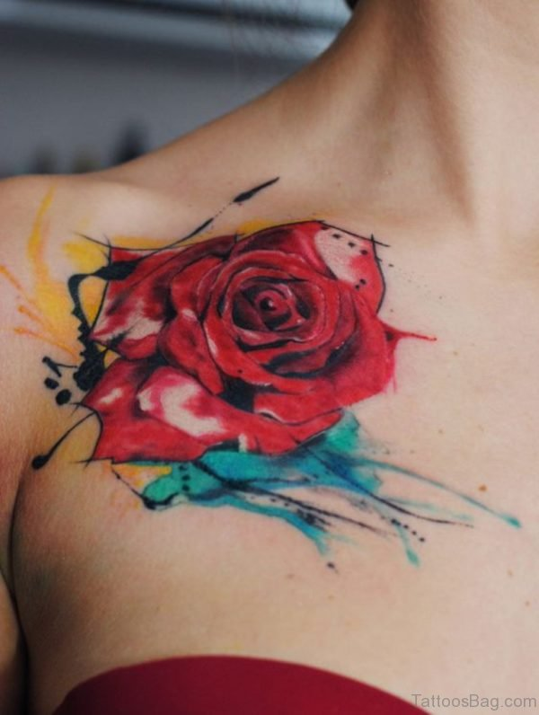 Watercolor And Rose Tattoo