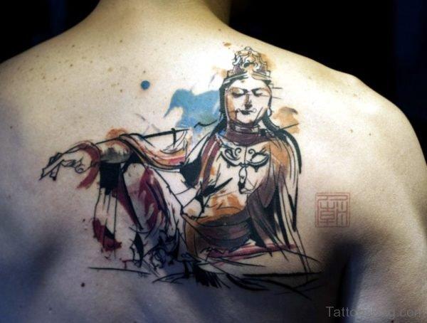 Watercolor Buddha Tattoo On Back