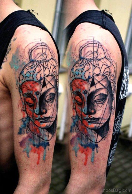 Watercolor Buddha Tattoo Style