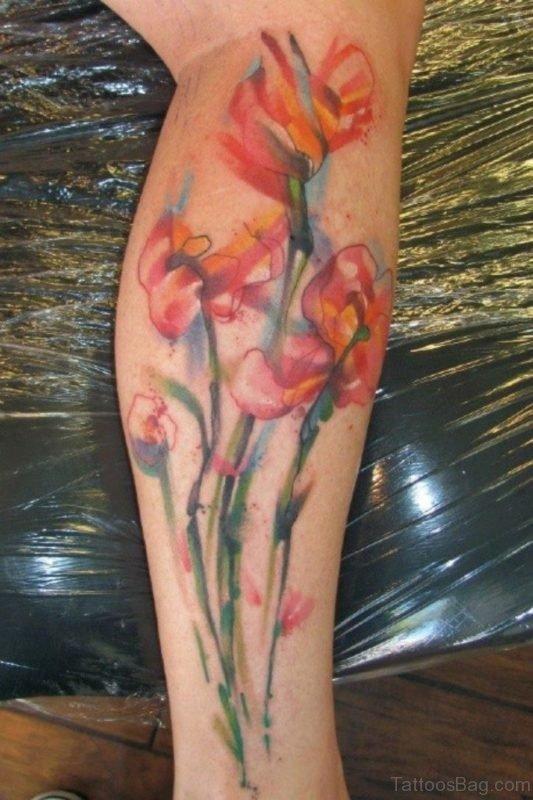 Watercolor Flower Tattoo On Leg