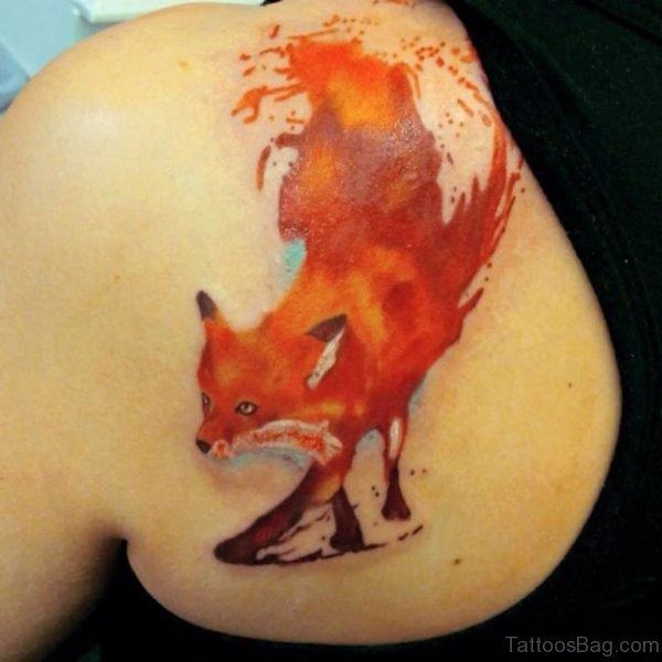 Watercolor Fox Tattoo On Left Back Shoulder