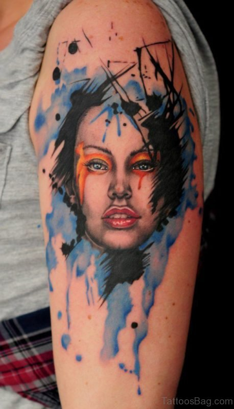 Watercolor Girl Portrait Tattoo ST1386