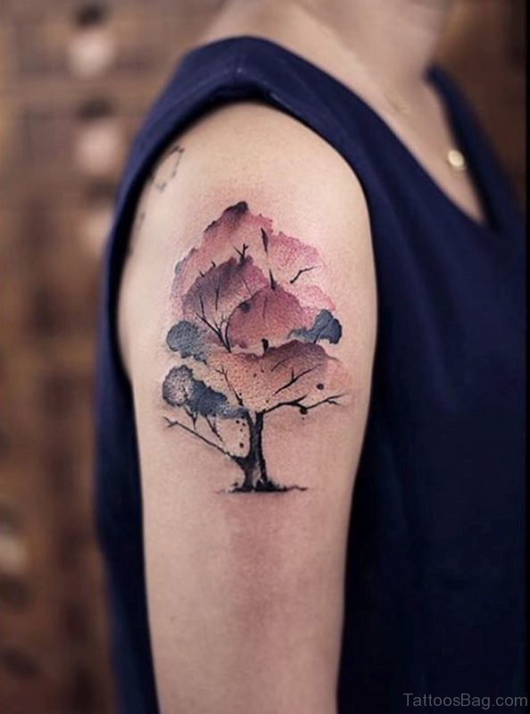 Watercolor Magnolia Tree Tattoo