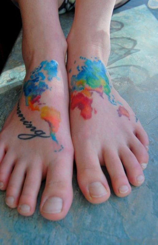Watercolor Map Tattoo