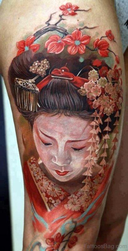 Watercolor Portrait Geisha Tattoo
