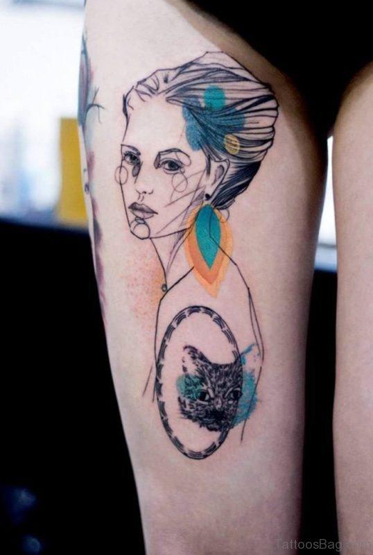 Watercolor Portrait Tattoo