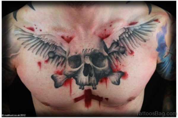 Watercolor Skull And Wings Tattoo