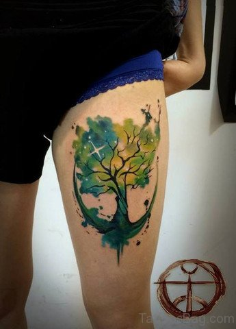 Watercolor Tree Anchor Tattoo On Thigh