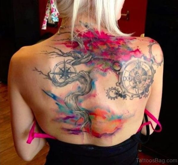 Watercolor Tree With Compass Tattoo On Girl Upper Back