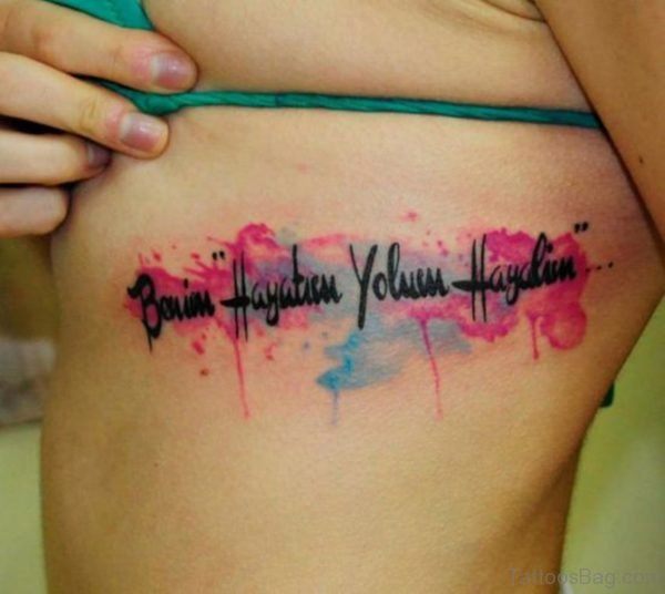 Watercolor Wording Tattoo