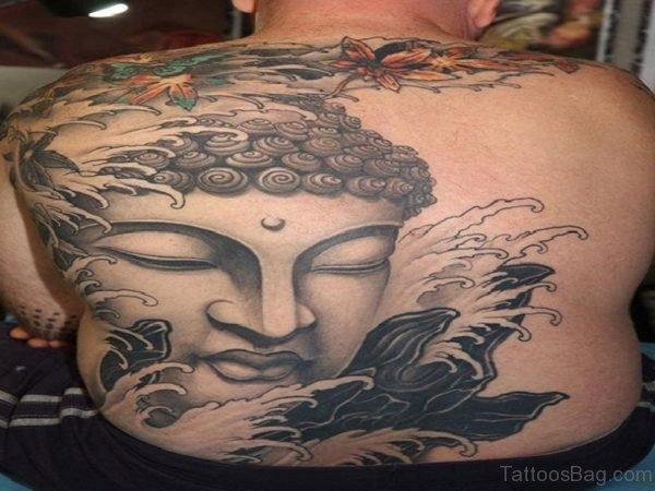 Waves And Buddha Head Tattoo On Back Body