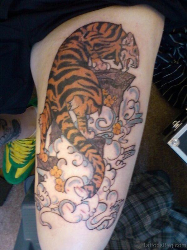 Waves And Tiger Shark Tattoo