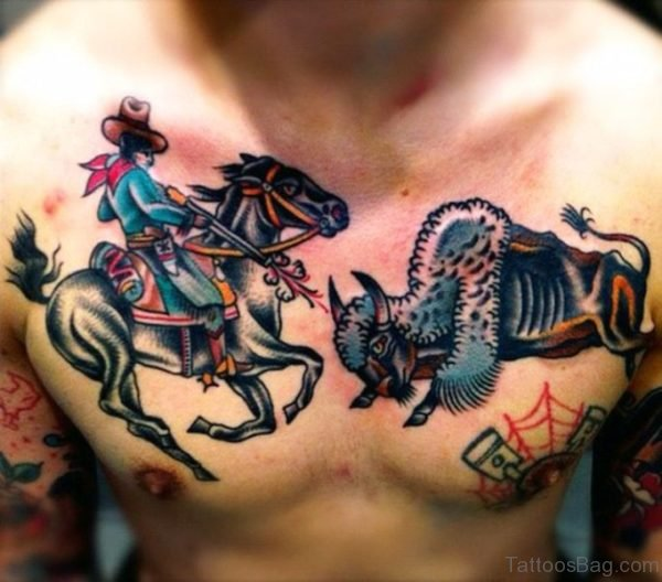 Westren Themed Bull And Horse Tattoo