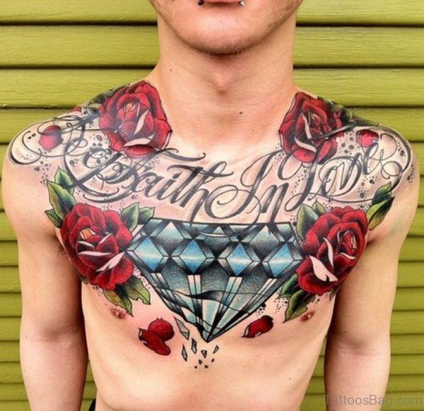 White Diamonds Tattoo On Chest