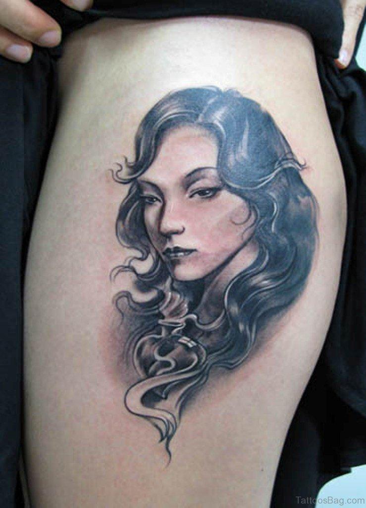 outstanding portrait tattoos  leg
