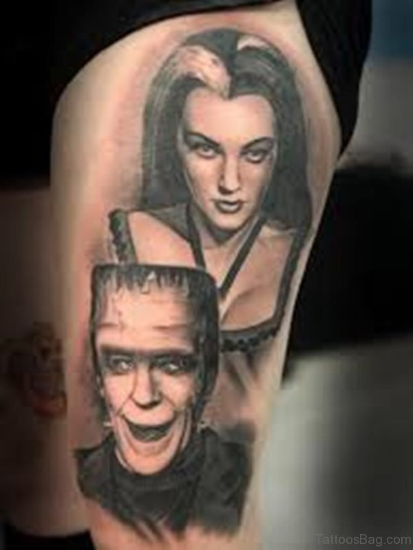 Wicked Portrait Tattoo On Thigh