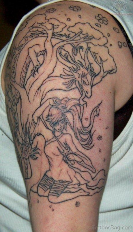 Wild Life Shoulder Half Sleeves Tattoo