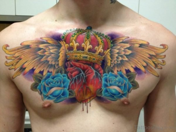 Winged Crown And Blue Rose Tattoo On Chest