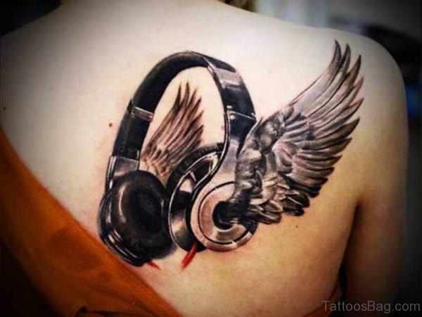 Winged Headphone Music Tattoo