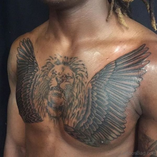 Wings And  Lion Tattoo