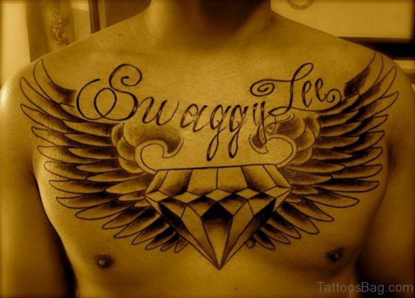Wings Diamond Tattoo On Chest