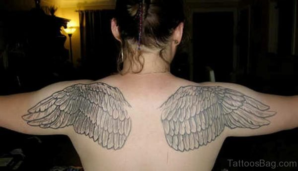 Wings On Both Shoulder Tattoo