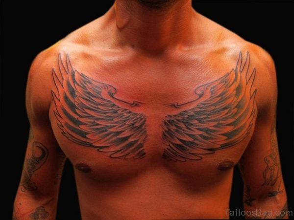 Wings Tattoo On Chest