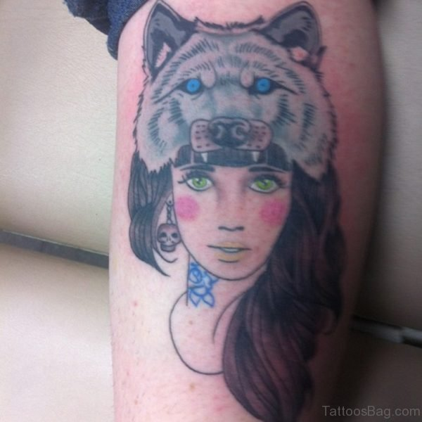 Wolf And Girl Face Tattoo
