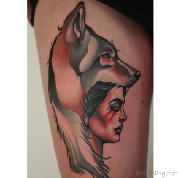 Wolf And Girl Portrait Tattoo