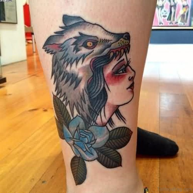Wolf Woman Tattoo By Otheser Tattoo: 41 Marvelous Wolf Tattoos For Leg