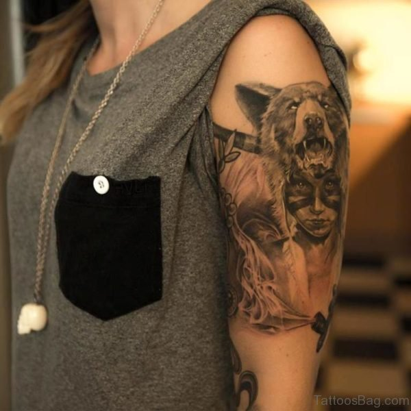 Wolf And Portrait Girl Tattoo