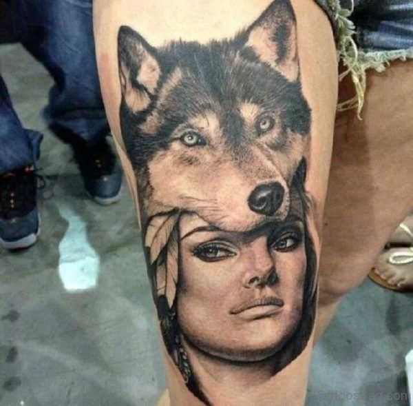 Wolf And Portrait Tattoo
