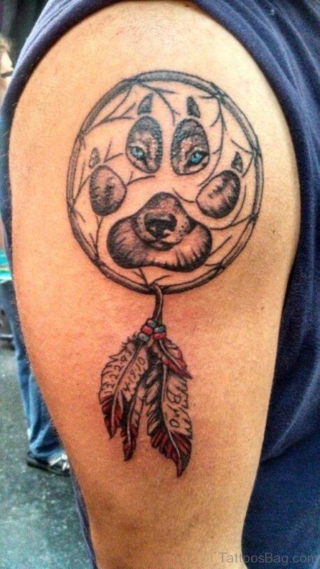 Wolf Eyes And Dreamcatcher Tattoo