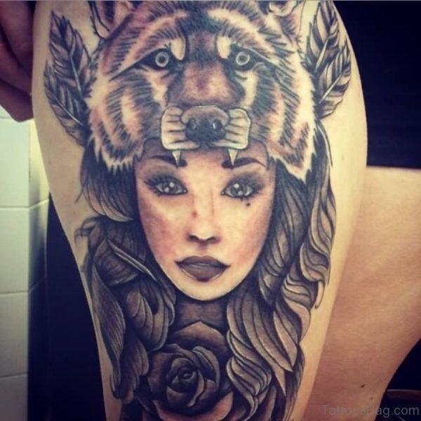Wolf Girl Head Tattoo On Thigh