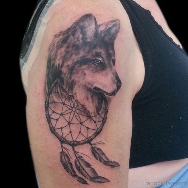 Wolf Head And Dreamcatcher Tattoo On Shoulder