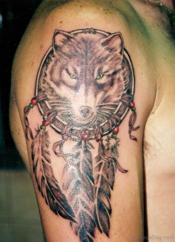 Wolf Head Dreamcatcher Tattoo For Men