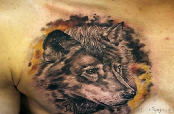 Wolf Head On Right Side of Chest Tattoo