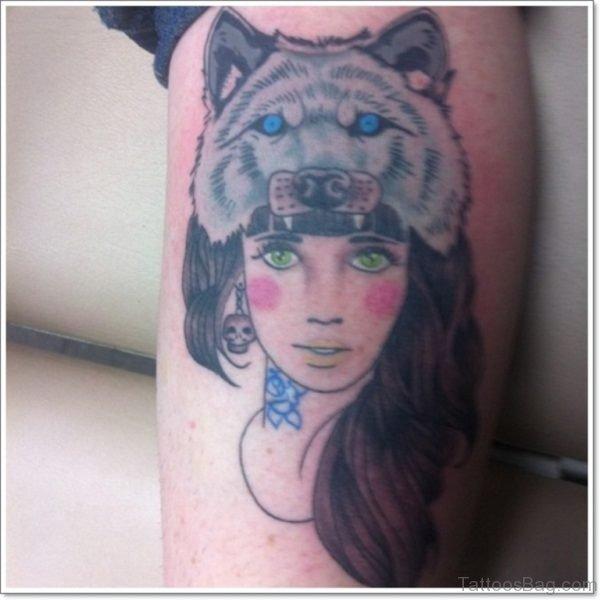 Wolf Hood Girl Leg Calf Tattoo