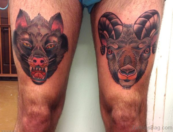 Wolf Sheep Head Tattoos On Thigh