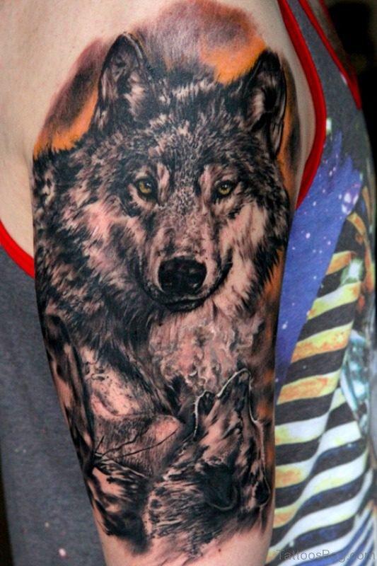 Wolf Shoulder Half Sleeves Tattoo