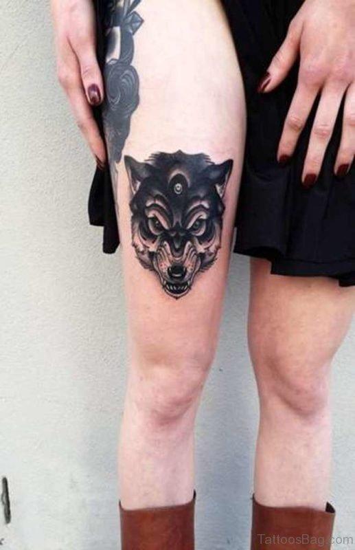 Wolf Tattoo On Thigh