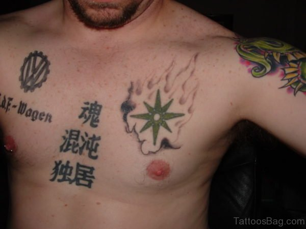 Wolkswagwn Logo And Star Tattoo On Chest