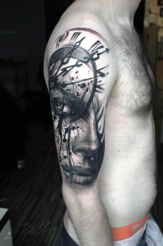 Woman Portrait And Clock Tattoo