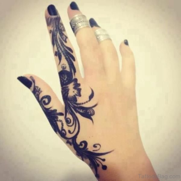Wonderful Feather Design Tattoo On Finger