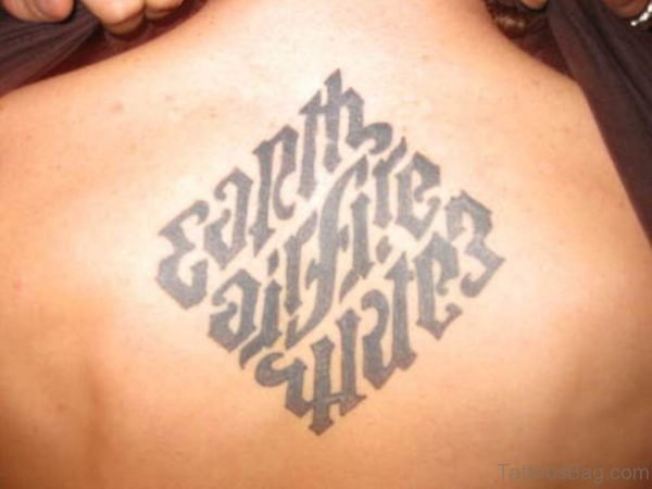 Wonderful Ambigram Tattoo On Back