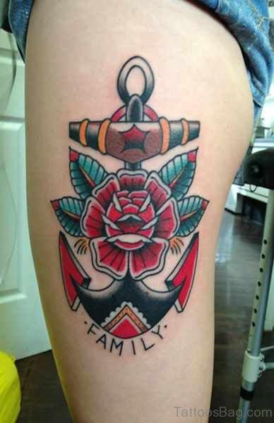 Wonderful Anchor Tattoo On Thigh