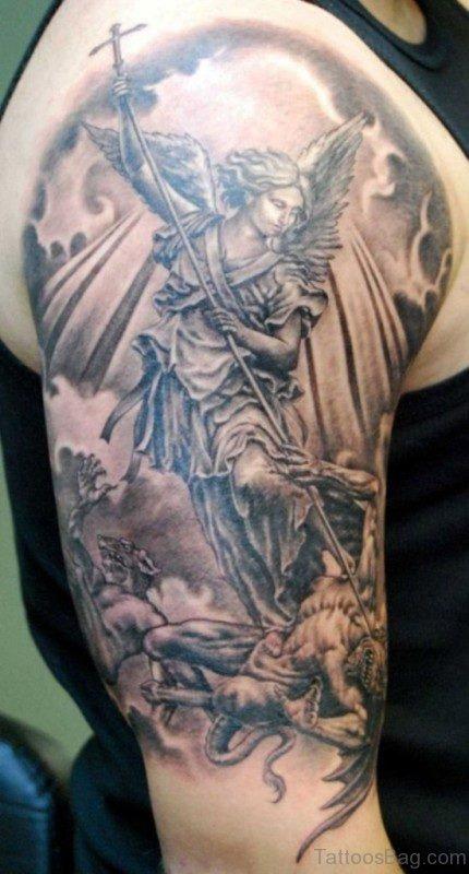 Wonderful Angel In Clouds Tattoo Design