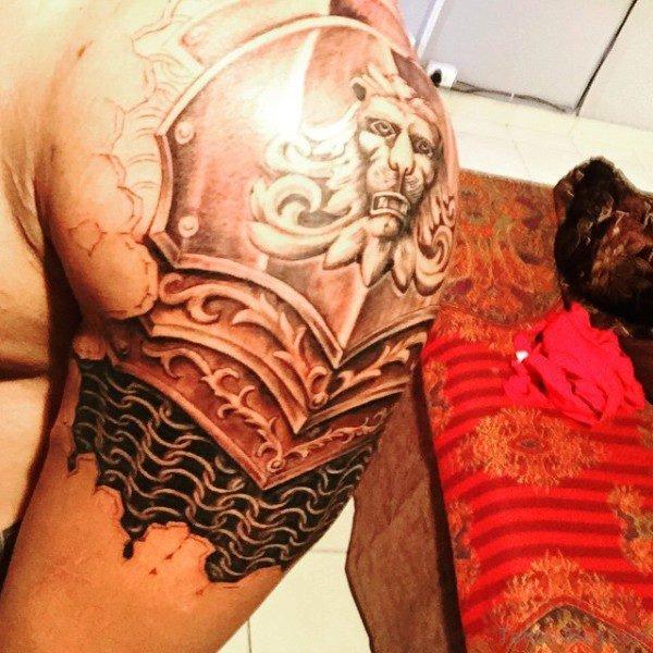 Wonderful Armor Shoulder Tattoo Design