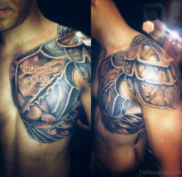 Wonderful Armour Tattoo On Left Shoulder